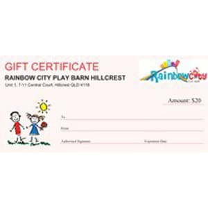 Rainbow City Play Barn Gift Certificate